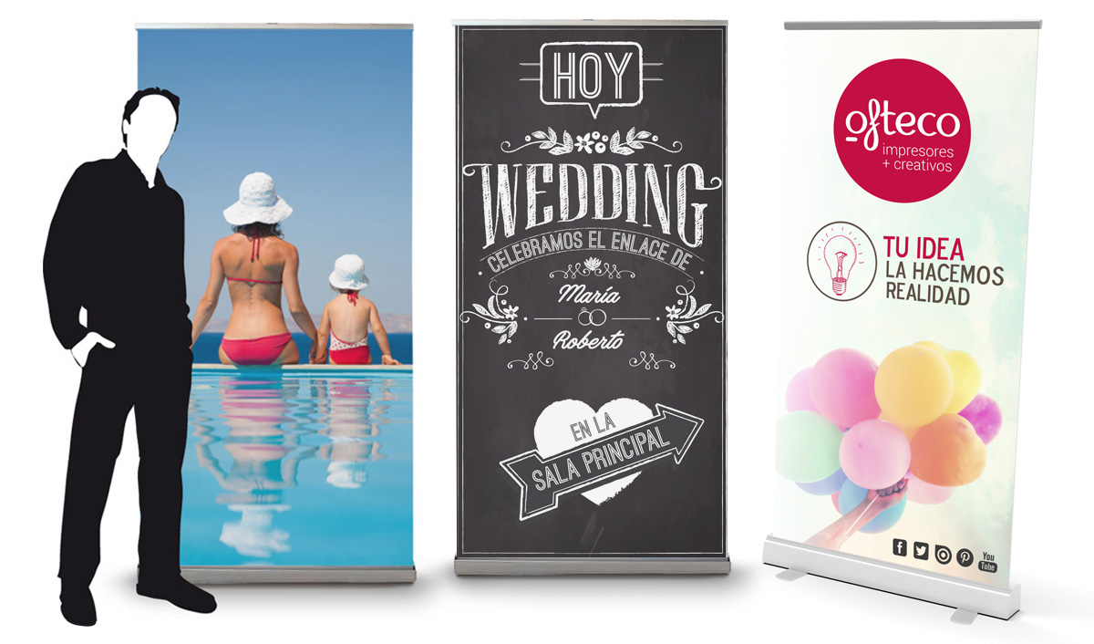 Roll up Expositor enrollable y transportable. Ofteco